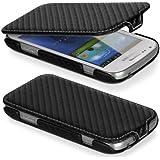 DONZO Flip Carbon Style Tasche für Samsung Galaxy S Duos S7562 Schwarz