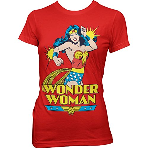 Official Red Wonder Woman Character Printed Retro T Shirt