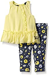Calvin Klein Baby-Girls Chiffon with Jersey Lining Yellow and Printed Leggings, Yellow, 3-6 Months