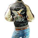 (フリースタイル)Freestyle 鷹 イーグル 和柄 刺繍 メンズ サテン スカジャン 83612 ブラック×ゴールド M