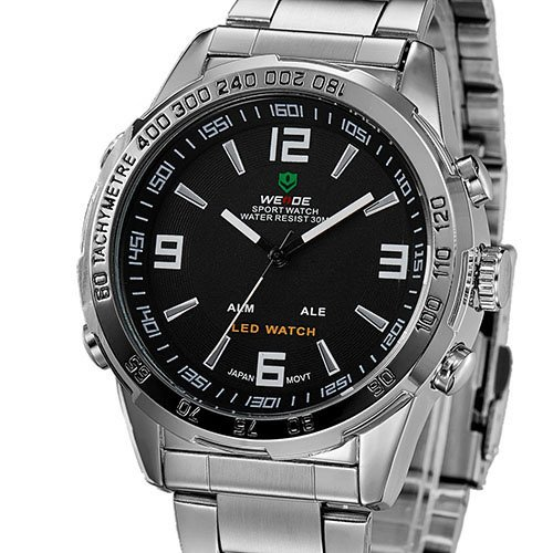 Mudder Deluxe Weide Men'S Analog Led Digital Date Dual Display Quartz Wrist Watch - Silver Steel Belt