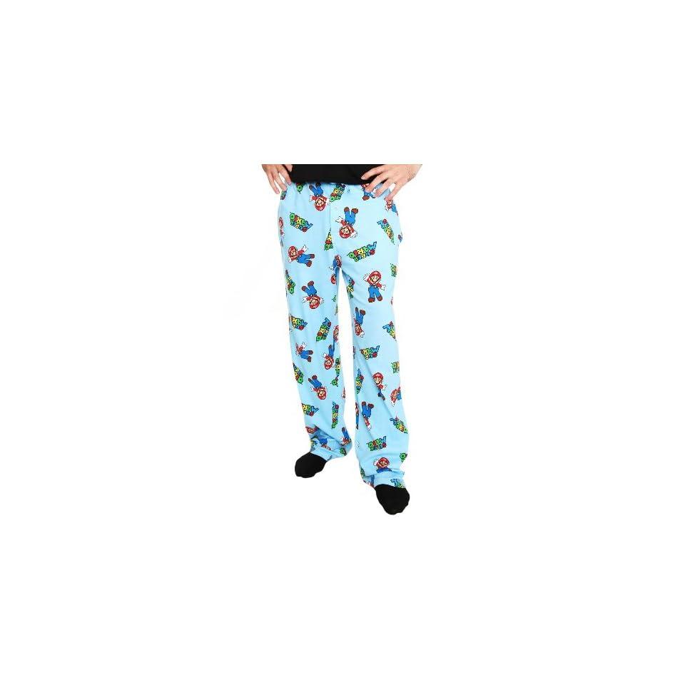 Nintendo Super Mario Bros Blue Pajama Pants Clothing