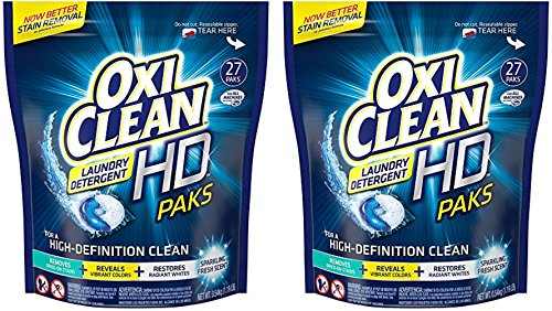 Oxi Clean HD Laundry Detergent Paks - HE Compatible (For ALL Machines) - Sparkling Fresh Scent - 27 Count Paks Per Package - Pack of 2 (Oxy Clean Laundry White compare prices)