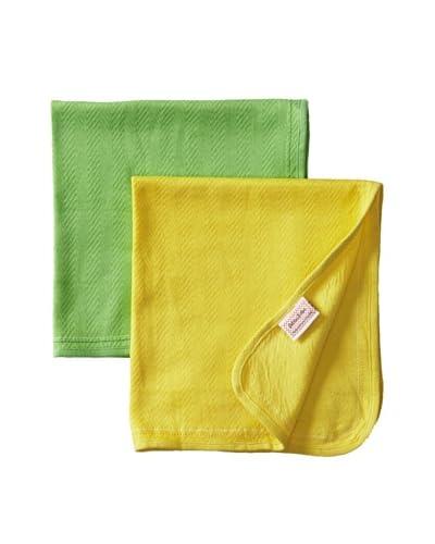 Petites Frites Burp Cloth Two-Tie Set, Green
