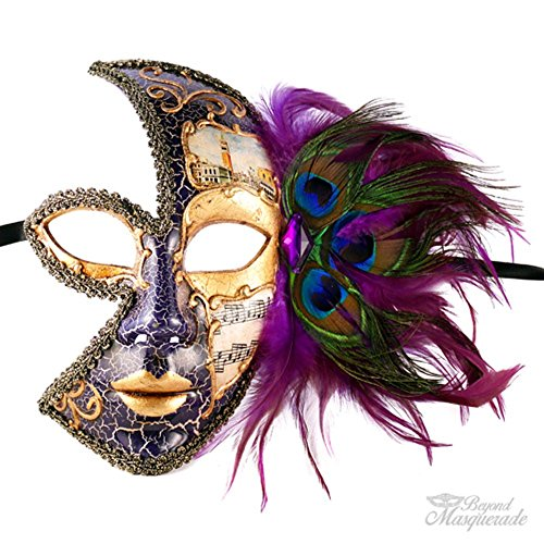 Classic Vintage Venetian Female Phantom Half Mask Design Laser Cut Masquerade Mask for Mardi Gras Events or Halloween - Purple w/ Decorative Violet Peacock Feathers