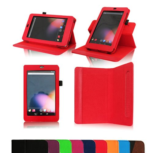 Fintie Dual-View Multi Angle (Red) Leather Folio Case Cover for Google Nexus 7 Tablet (Auto Wake/Sleep Feature) -9 Color Options:Black,Green,Blue,Orange,Red,Navy, Pink,Purple,Dual