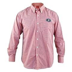 Georgia Bulldogs Focus Red Buttondown Long Sleeve Shirt by Antigua