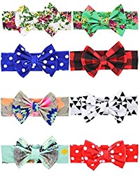 Qandsweet Baby Girl\'s Elastic Headbands Hair Bows Flower (Bow L-4,W-2.5 inch 8Pack)
