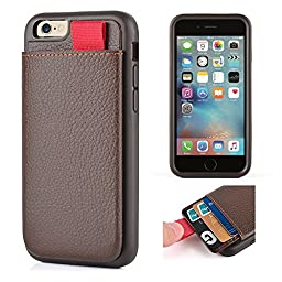 iPhone 6s Leather Case, iPhone 6 Wallet Case, LAMEEKU Protective Wallet cover Leather Wallet case with Credit Card Slot Holder, Case cover For Apple iPhone 6 / 6S 4.7inch Dark Brown