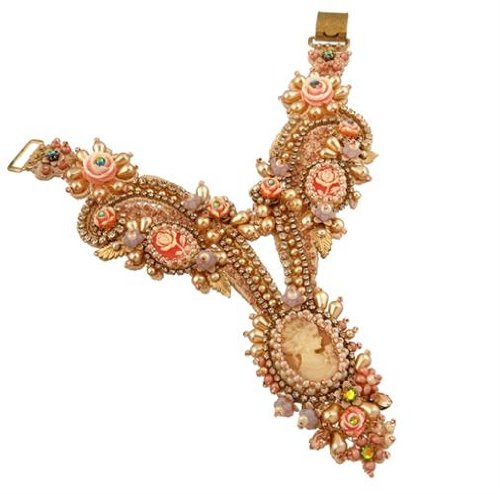 Michal Negrin Luxurious Bracelet with Ring Made Of Lace Adorned With Lady Cameo, Swarovski Crystals, Beads, Vintage Flowers and Rich Brass Elements