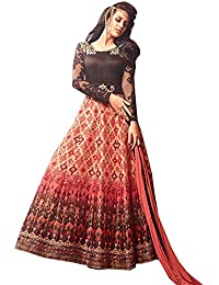 Stylish Fashion Glorious Peach And Brown Neck Embroidered Designer Semi Stitched Long Anarkali Suit