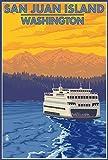 San Juan Island, Washington - Ferry and Mountains (12x18 Art Print, Wall Decor Travel Poster)