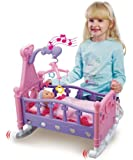 MOMMY & BABY CHILDRENS PRETEND PLAY ROCKING MUSICAL CRADLE BED COT WITH DOLL TOY