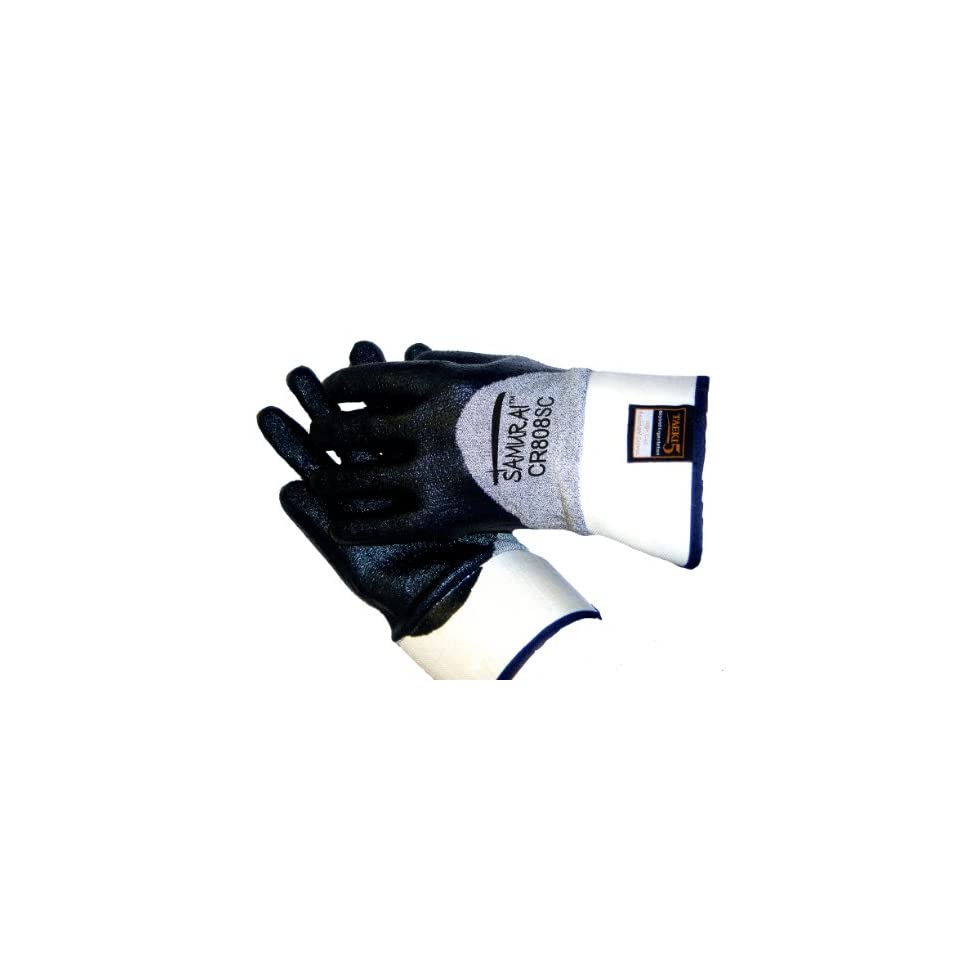Global Glove CR808SC Samurai Tsunami Tuff Nitrile Glove, Cut Resistance, Extra Large (Case of 72)