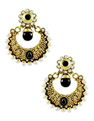 Black Colored Chand Shaped Rajwadi Earrings With Pearl Border