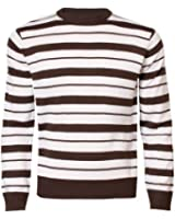 Mens Striped Jumper Crew Neck Casual Sweater Knitwear Top Blue Fire 26A-902
