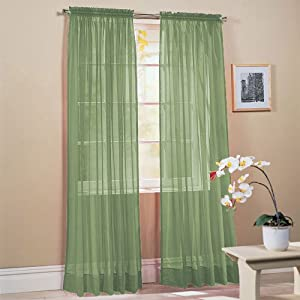 amazon com 2 piece solid sage green sheer window