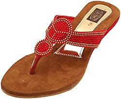 Gujarat Charmudyog Bhandar Womens Brown With Red Leather Sandal 5 UK