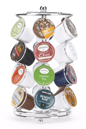 NEW 16 Count Bamboo Coffee K-Cup Pod Chromed Wire Storage Rack