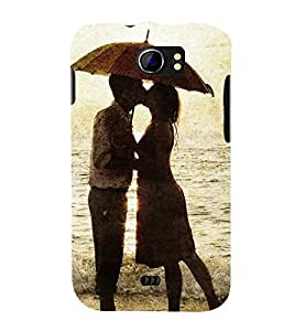 LOVE COUPLE ON A BEACH UNDER AN UMBRELLA 3D Hard Polycarbonate Designer Back Case Cover for Micromax Canvas 2 A110::Micromax Canvas 2 Plus A110Q