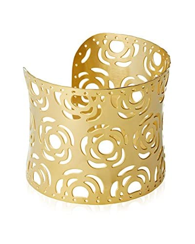 Chloe by Liv Oliver 18K Gold Cut – Out Rose Cuff Bracelet