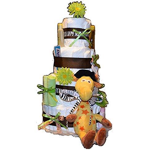 4 Tier Jungle Theme/ Safari Baby Diaper Cake - Girl/ Boy / Gender Neutral - Baby Shower Centerpiece