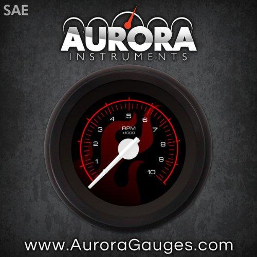 Aurora Instruments (GAR186ZEXIACCD) Ghost Flame Black Red Tachometer Gauge