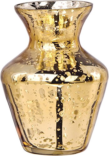 Vintage Mercury Glass Vase (4-Inch, Penelope Mini Urn Design, Gold)