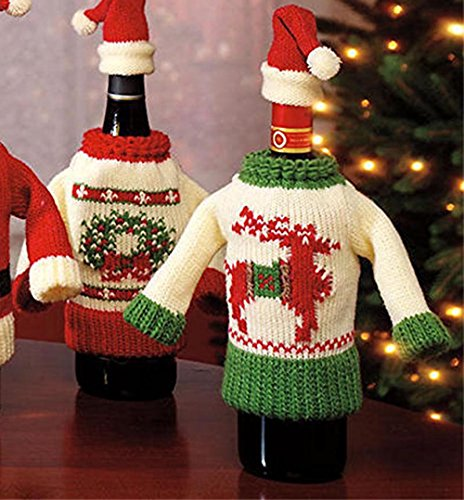 Christmas Knit Sweater Wine Bottle Covers (Set of 2)