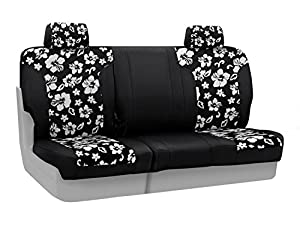 Coverking Custom Fit Rear 60/40 Bench Seat Cover for Select Nissan Xterra Models - Neoprene (Hawaiian Black with Black Sides)