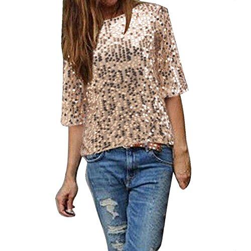 Bellezza Donna T-shirt Camicia Bling Lustrino Maniche 1/2 Maglietta Ragazza Tops Estate