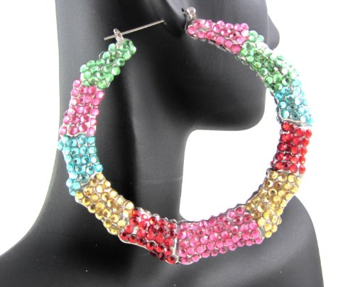 Bling Basketball Wives Poparazzi Hip Hop Spangle Round Hoop Earrings Multicolor (One Side W/Stones)