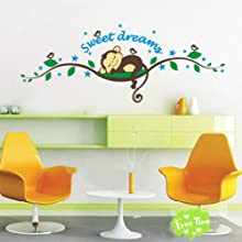 O39plaza reg Sweet Cartoon Monkey Sleep On Green Tree Branch Monkey Wall Stickers Kids Nursery Bedro