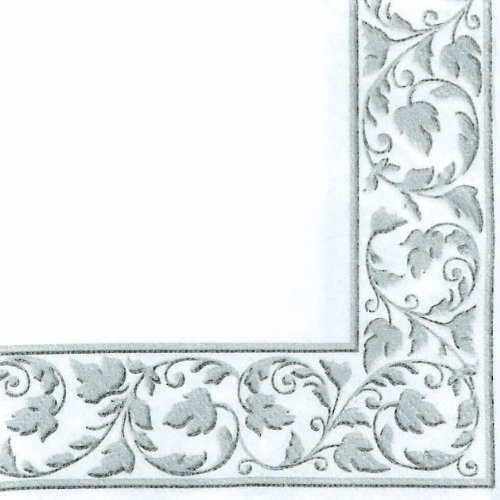 White with Silver Trim Premium Quality Beverage Napkins 24ct