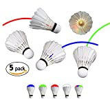 NiteFlite Light-Up Badminton Birdies by RiteTrak Sports, 5-pack Feather Shuttlecocks for Day or Night Use, for Backyard, Park, Beach or Camping