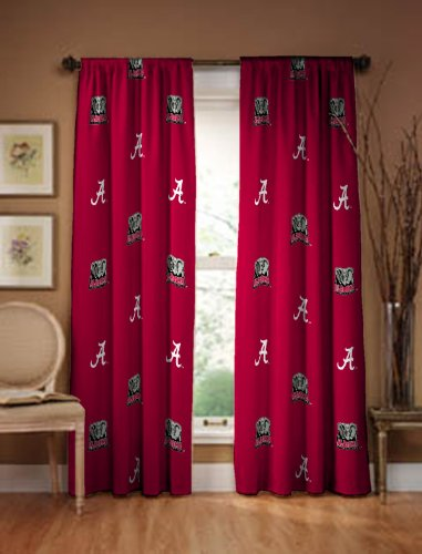 Alabama crimson tide collegiate drapes long ncaa window for Where to buy window treatments