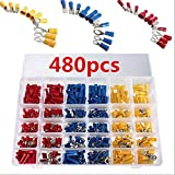 480pcs Electrical Connectors, Sopoby Mixed Assorted Lug Kit Insulated Spade Wire Connector Crimp Terminal Spade Ring Set