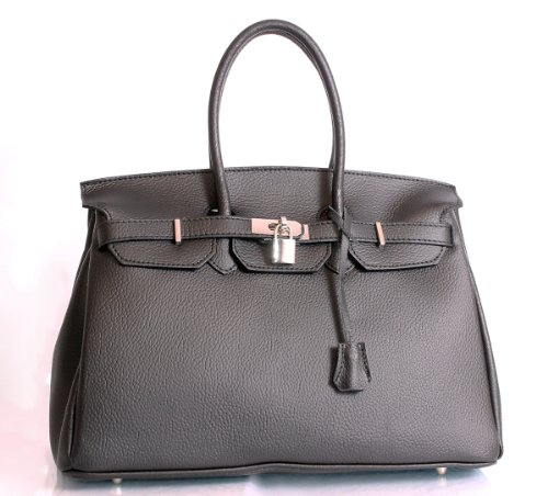 Italian Leather Birkin Inspired Style Black Colour Handbag with Silver Metal by Charming Chics