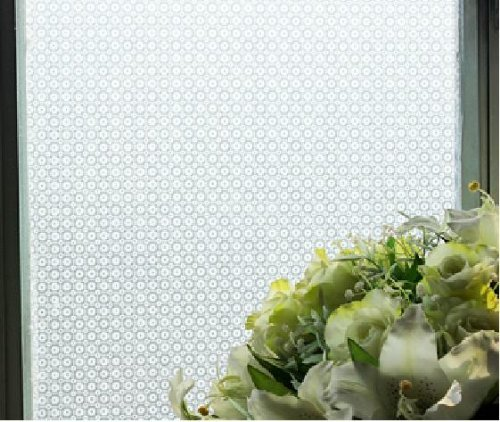 Duofire Decorative Repositionable Stained Non-Adhesive Privacy Glass Window Film Small Circle- 3 X 6.5 Ft