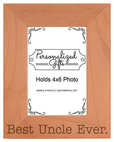 Gift for Uncle Best Uncle Ever Fathers Day Natural Wood Engraved 4x6 Portrait Picture Frame Wood (Uncle Frame compare prices)