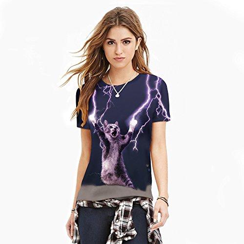 (シーファニー)Cfanny レディース メンズ 可愛い 3D かみなり 猫柄 プリント 半袖 Tシャツ S/M