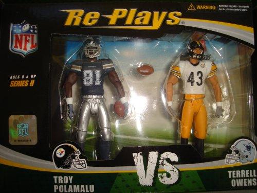 Buy Low Price Gracelyn Re-Plays NFL 2 Pack: Pittsburgh Steelers Troy Polamalu vs Dallas Cowboys Terrell Owens 4″ Action Figures (B004J1YLTW)