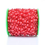 Grace Florist 98 Feet Fishing Line Artificial Pearls Beads Garland Chain for Flower Garland Wedding Decoration & DIY Bridal Bouquet(8+3mm) (red) (Color: red)