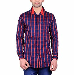 Cotblend Men's Casual Shirt (COTBLEBD8-L, Blue and Red , L)