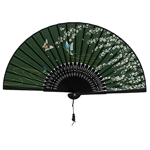 Nestarfactory Flower Butterfly Designs Handheld Folding Fan (Green) (Folding Fan Making Supplies compare prices)