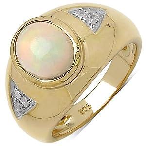 Goldancé - Damen Ring 925 Silber vergoldet Äthiopische Opale R8133ETHOPWD VG-19mm