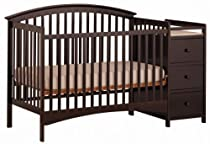 Hot Sale Stork Craft Bradford 4 in 1 Fixed Side Convertible Crib Changer, Espresso