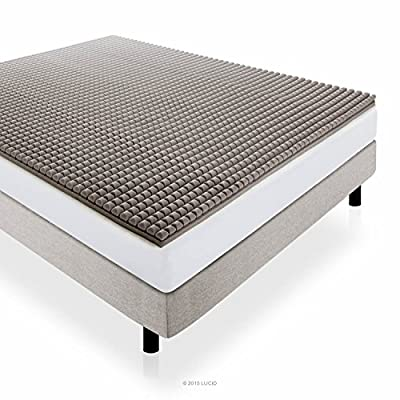 LUCID 2 Inch Bamboo Charcoal Ultra Ventilated Memory Foam Mattress Topper by Lucid