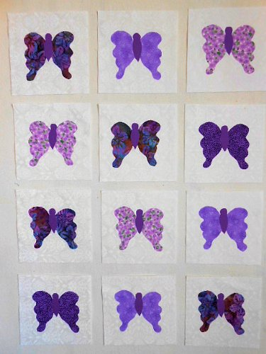 12 Applique Scrap Butterfly Quilt Kit Blocks 6.5 Inch Squares
