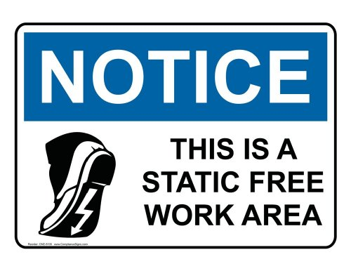 Compliancesigns Aluminum Osha Notice Sign, 10 X 7 In. With Esd / Static Info In English, White
